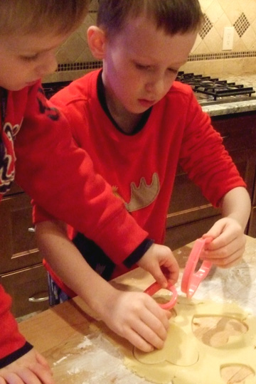 Boys Using Heart Cookie Cutters