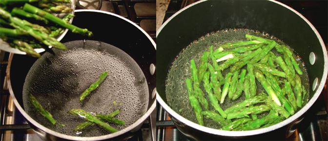 Boil Asparagus in Pan