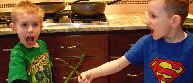 Kids En Garde with Asparagus