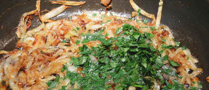 Adding Parsley to Onions
