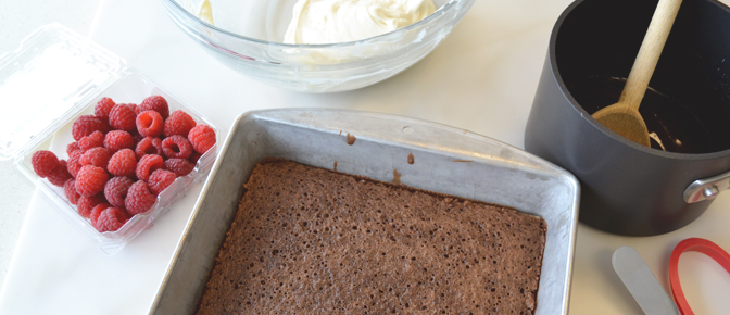 Baked Cake and Ingredients