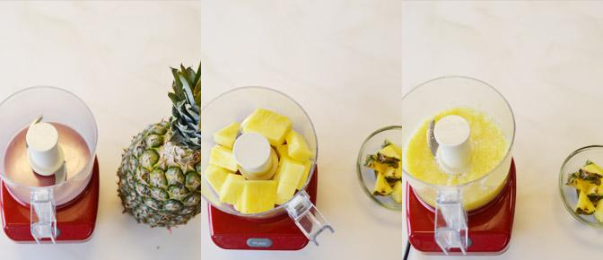 Blending Pineapple in Food Processor