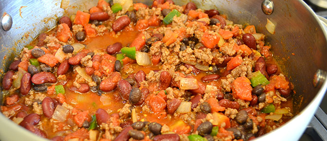 Meat and Chili in Sauce Pan