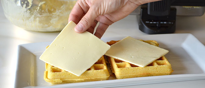 Adding Cheese to Waffles