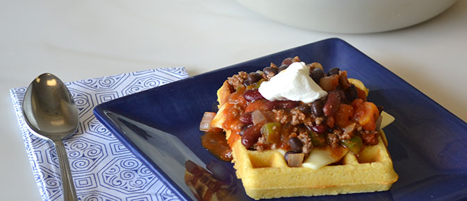Finished Waffle and Chili with Spoon