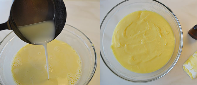 Adding Milk Mixture to Egg Mixture