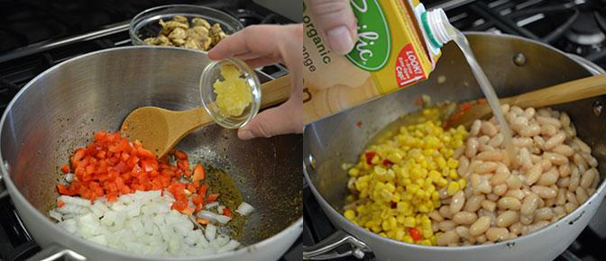 Adding Beans to Saucepan