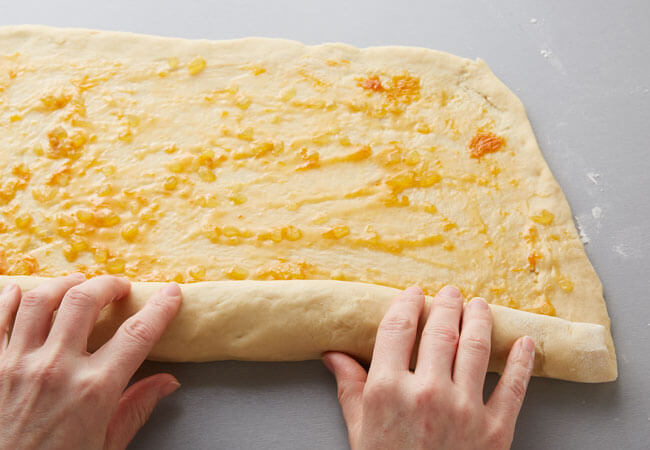 rolling apricot bread