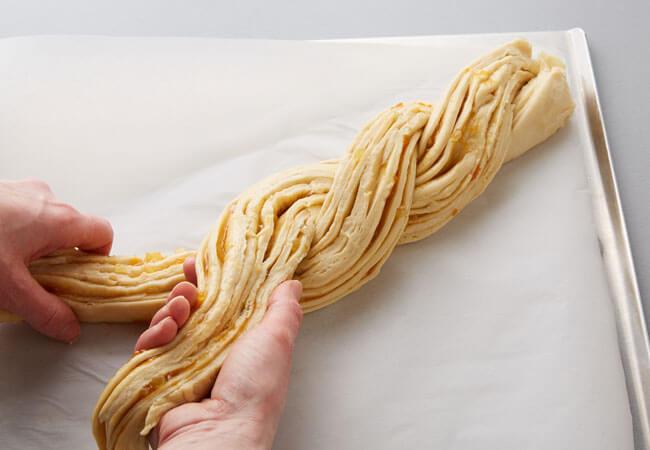 twisting apricot bread