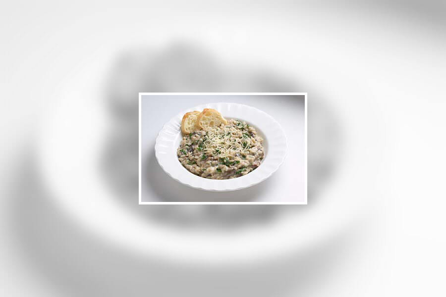 Risotto with Alfredo Sauce and Mushrooms
