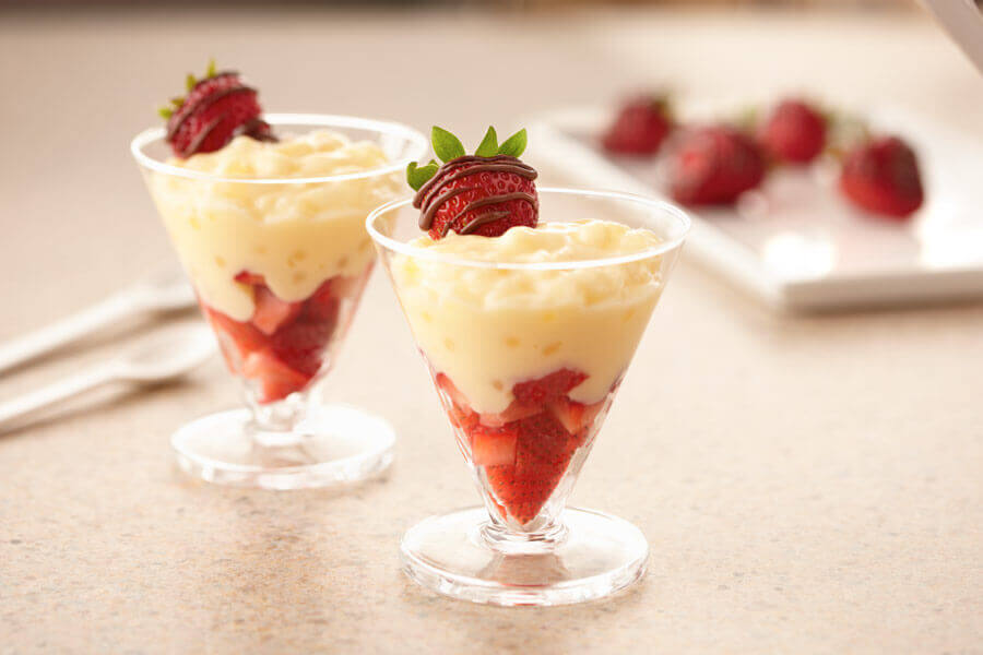 Tapioca Pudding With Chocolate Dipped Strawberry