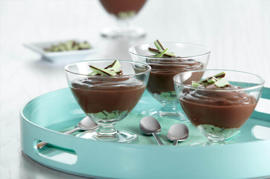 Chocolate Pudding with Mint