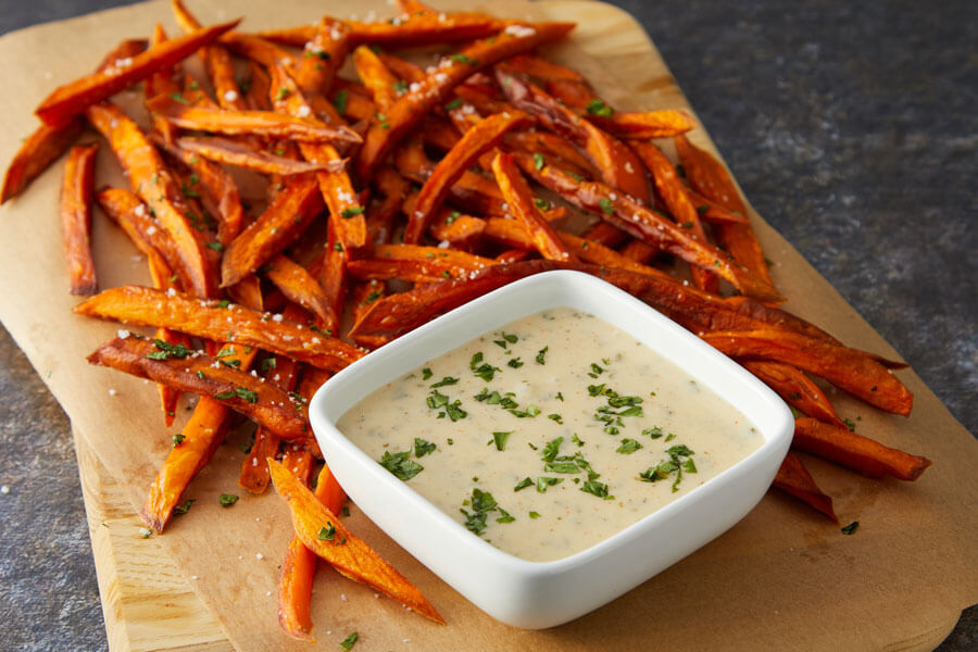 Indian-Spiced Sweet Potato Fries with Garam Masala Extra Melt Cheese Sauce recipe