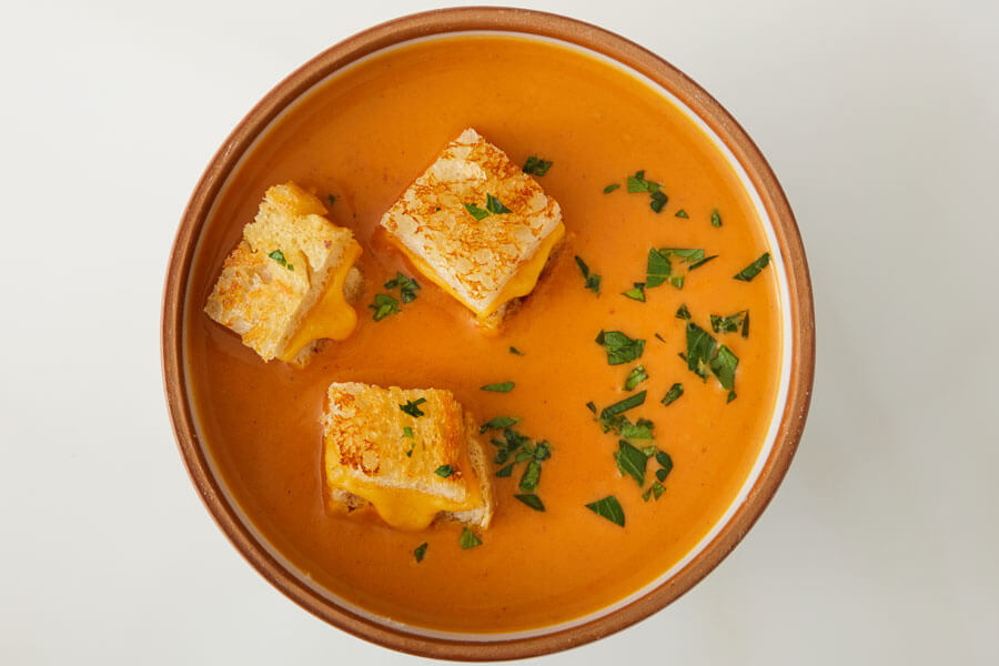 Pumpkin Soup with Grilled Cheese Croutons recipe