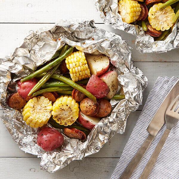 Foil Pack Grilled Herb Butter Sausage & Vegetables Image