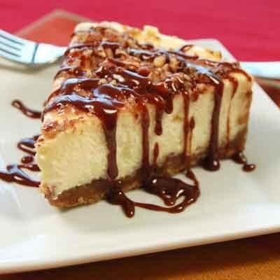 Praline Cheesecake With Hot Fudge Caramel Sauce Image