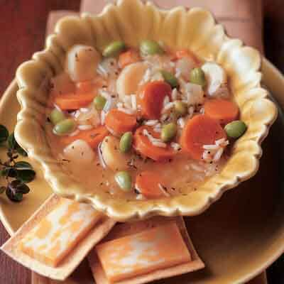 winter vegetable & rice soup image