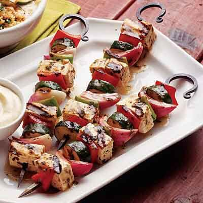 Tofu Vegetable Kabobs With Mustard Dipping Sauce Image
