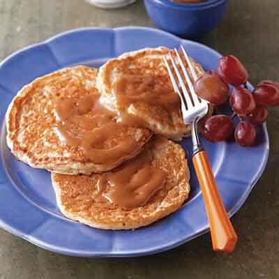 Multi-Grain Pancakes With Peanut Butter Maple Spread Image