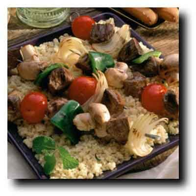 Lamb Kabobs With Roasted Garlic Couscous Image