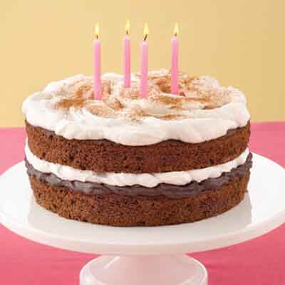 Remarkable Cinnamon Fudge Birthday Cake Recipe Land Olakes Funny Birthday Cards Online Inifodamsfinfo