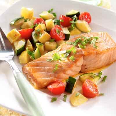Salmon & Summer Squash with Basil Image