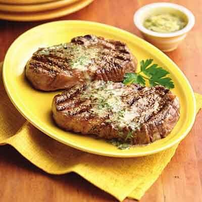 Rib Eye Steaks with Dijon Gremolata