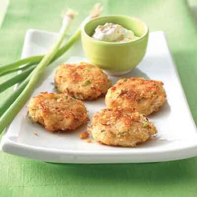 Asian Crab Cakes With Sesame Sour Cream Image
