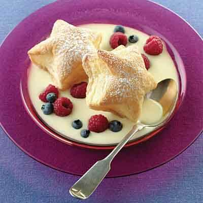 Puff Pastry Stars With Custard Sauce Image