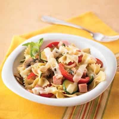 ham veggie pasta with swiss