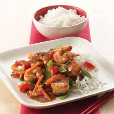 Asian Shrimp With Pea Pods & Bell Peppers Image