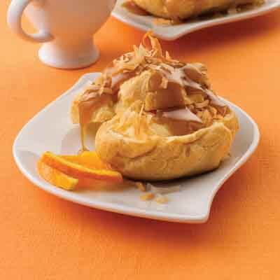Toasted Coconut Cream Puffs With Salted Caramel Drizzle Image