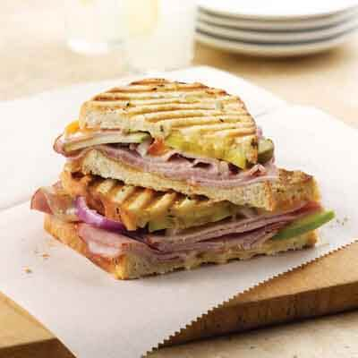 Ham & Apple Panini With Apricot Mayo Image