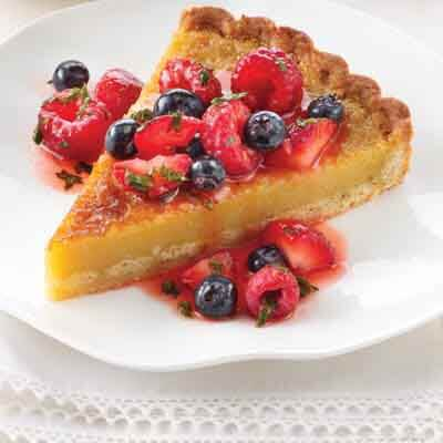 Almond Custard Tart with Berry Compote Image