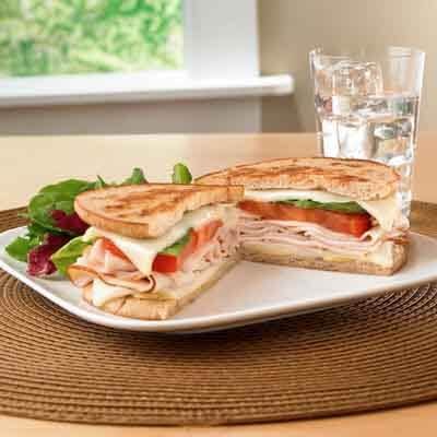 Lighten Up Turkey, Tomato & Basil Grilled Cheese Image