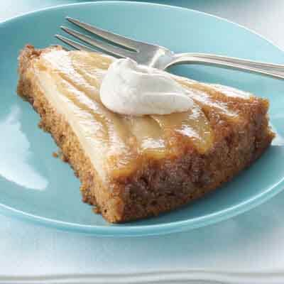 Pear Upside-Down Snack Cake Image
