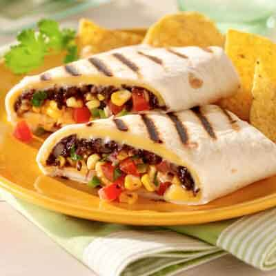 Southwest Black Bean & Corn Grilled Wraps Image
