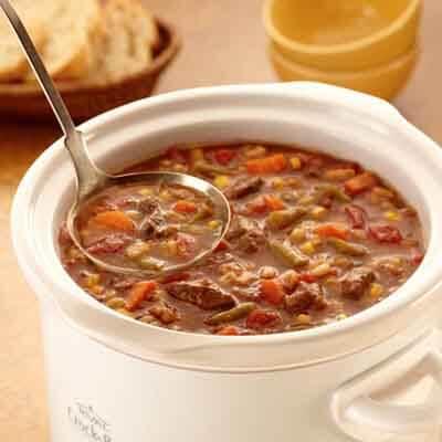 Slow Cooker Beef & Barley Soup Image