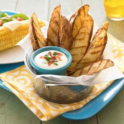 Grilled Cottage Fries with Bacon Cheese Dip