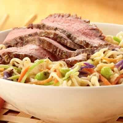 Ginger Garlic Flank Steak with Noodles image