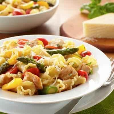 Sautéed Chicken, Asparagus & Tomato Pasta