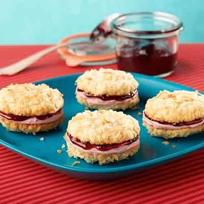 Blackberry Jam Coconut Sandwich Cookies Image