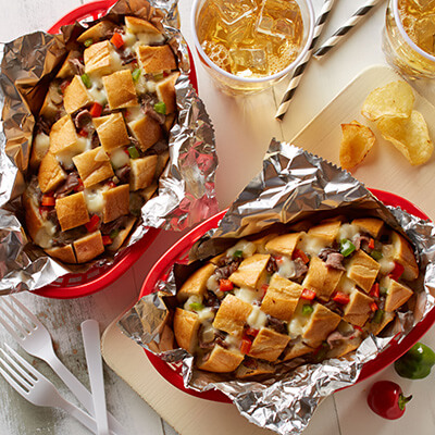Individual Philly Cheesesteak Pull-Apart Party Loaves