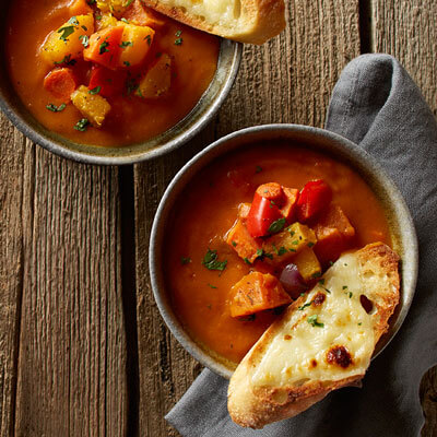 Roasted Vegetable Soup with Cheese Croutons