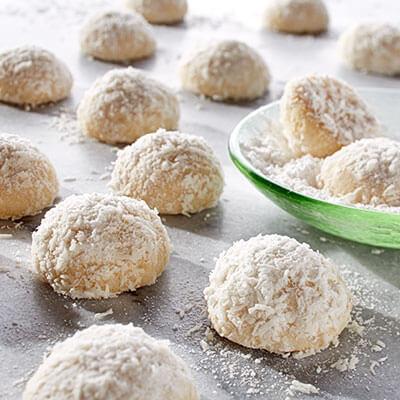 Coconut Macadamia Snowball Cookies