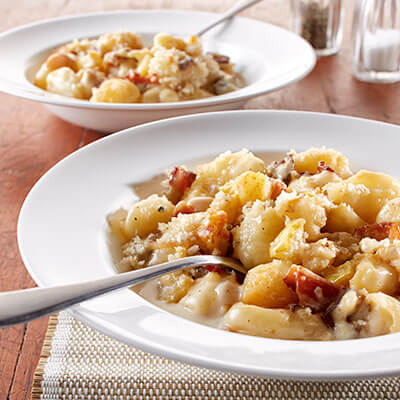 Pear and Caramelized Onion Gnocchi Macaroni and Cheese