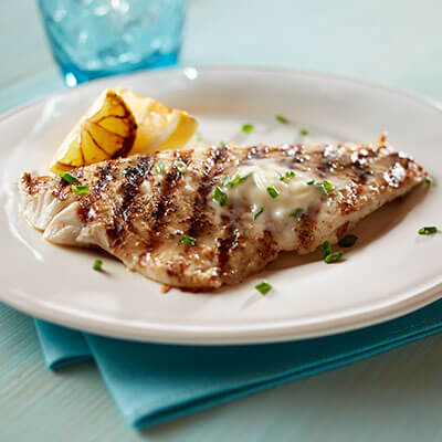 Grilled Fish with Grilled Lemon