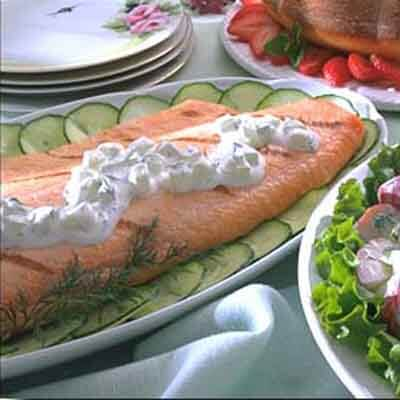 Salmon With Cucumber-Sour Cream Sauce Image