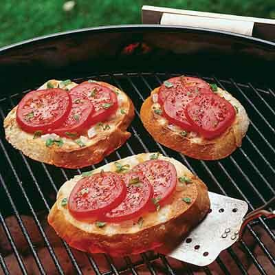 grilled sourdough bread with garden tomatoes