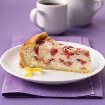 Strawberry Rhubarb Ribboned Cheesecake Image